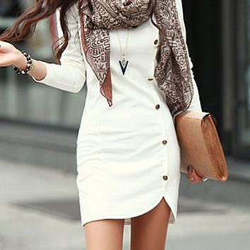 White Long Sleeve Mini Dress with Button Details