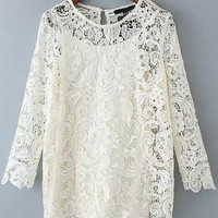 White Sheer Lace Long Sleeve Two Pieces Blouse