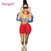 Adogirl Contrast Color Women Tracksuit Front Zipper Sheer Long Sleeve Hooded Jacket Crop Top + Shorts Casual 2 Piece Set Outfits