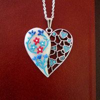 turquoise floral necklace,polymer clay necklace,polymer heart,ready to ship jewelry,anniversary gift for wife,spring necklace,artisan