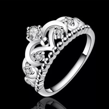 Princess Crown Ring Princess Jewelry Sterling Silver Ring Promise Ring Cubic Zironia Ring CZ Ring Diamond Crown Jewelry Crown Ring