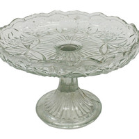 Found Glass Cake Stand, Clear