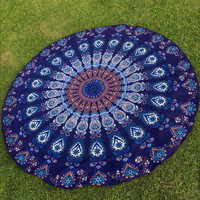Indian Mandala Round Roundie Beach Cover Up Blanket Throw Tapestry Hippy Boho Gypsy Tablecloth Round Table Decor Wall Hanging