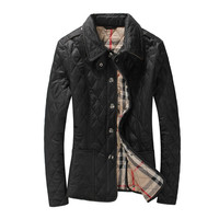 New Fashion Womens Winter Autumn Coat Turn-down Collar Slim Jacket Outerwear British Style Plaid Quilting Padded Parkas Branded