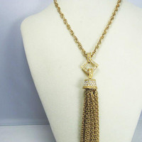 Vintage Art Deco Tassel Necklace/Bright Gold Finish with Pave Clear Rhinesones