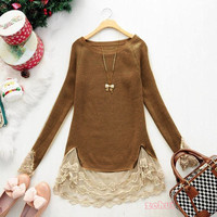 New Slim Vintage Lace Hem Sweater Stitching off Two Knitting Wool girl's Clothes
