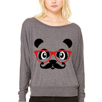 nerd panda with moustache and glasses WOMEN'S FLOWY LONG SLEEVE OFF SHOULDER TEE