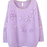Stereo Flower Mohair Knitwear With Bead Gold Edge
