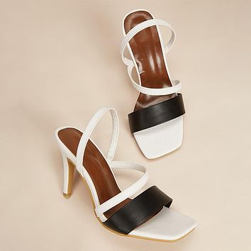 Square toe fashion sandals women's one-step high heels plus size sandals shoes