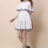 Boho Delight Embroidered Cold-shoulder Dress - Retro, Indie and Unique Fashion