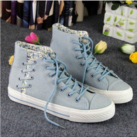 Korean Fashion Women's Lace Students Round Toe Flat Casual Canvas Shoes C1368