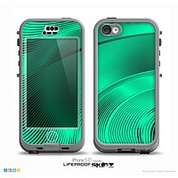 The Black and Trendy Green Wavy Surface Skin for the iPhone 5c nüüd LifeProof Case