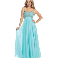 Aqua Strapless Sweetheart Beaded Corset Gown 2015 Prom Dresses