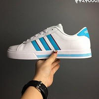 Adidas VS Advantage Neo Women Men Flat White+blue Line Shoes B-CSXY
