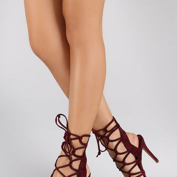 Shoe Republic LA Loops Lace Up Open Toe Heel