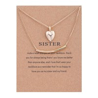 Fashion Double Heart Card Alloy Clavicle Pendant Necklace 171208