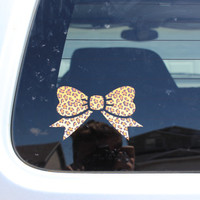 Leopard print bow FREE SHIPPING  cute window car decal bumper sticker sexy love pink