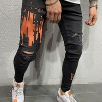 Mens Street Style Skinny Ripped Jeans Scripted 4538