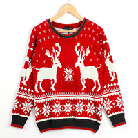 'The Catherine' Red Deer Patterned  Long Sleeve Sweater