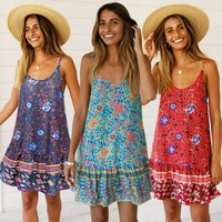 Vintage Floral Print Mini Dress Boho Chic Sexy Backless V Neck Strap Dresses Summer Clothes Beach Party Women Dress