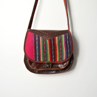 Vintage Mexican Blanket & Leather Purse by twigandspokevintage