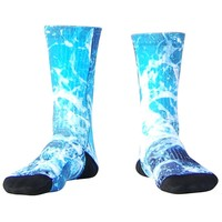 Ocean Waves Athletic Crew Socks