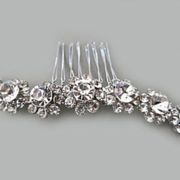 Crystal Flower Bridal Comb Wedding Rhinestone Hair Accessories