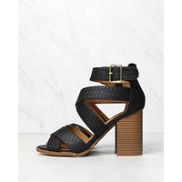Sneaky Snake Textured Strappy Peep Toe Heeled Sandals in Black
