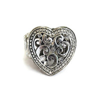 Silver Tone Rhinestone Heart Ring Vintage Openwork Expansion