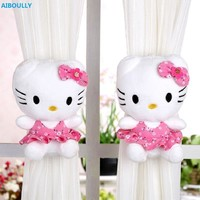 AIBOULLY One pair  Hello Kitty Curtain Buckle Strap Curtain Clip Home Decoration Curtain Accessories