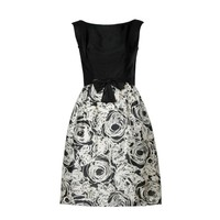 Black and White Graphic Vintage Floral Print Silk Cocktail Dress, 1960s