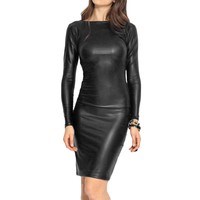 2017 Sexy Faux Leather Women Dress Casual Vestidos Party Hollow Out Plus Size Black Winter Bodycon Bandage Dress