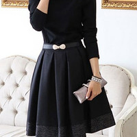 Black Lapel Collar Long Sleeve Pleated Dress