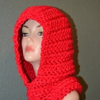 Hand Crochet Scoodie. Chunky Scoodie. Cowl, Hat and Neckwarmer combination. Winter Accessory