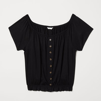 Short Jersey Top - Black - Ladies | H&M US