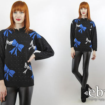 Vintage 80s Black Blue Sweater 80s Sweater 80s Pullover 80s Jumper Black Sweater Hipster Sweater Bow Sweater Metallic Sweater