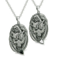 Love Couple Courage Wolf Eagle Unity Feathers Arrowhead Pendant Necklaces