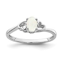 Sterling Silver Opal Double Heart October Birthstone Ring