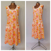 Vintage 1960s Lilly Pulitzer Dress Plus Size Neon Floral Cotton Frock Novelty Print Summer Day Dress Size Large Retro The Lilly Beach Dress