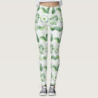 Green & White Butterflies Flowers Girly Boho Leggings