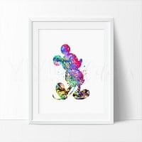 Mickey Mouse Watercolor Art Print