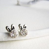 White Bunny Stud Earrings, White Topaz and Sterling Silver, MADE TO ORDER