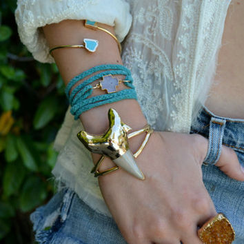 LUX DIVINE /// 24kt Gold or Fine Silver Electroformed /// Chunky Large Shark Tooth Bracelet /// Statement Jewelry