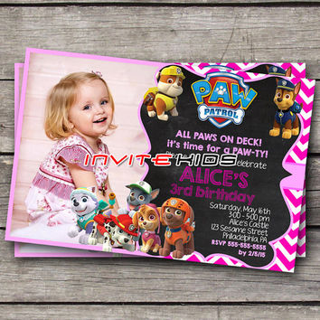Funny Cute Pink Paw Party - Invitation Card - Birthday Party Kids - InviteKids