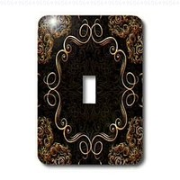 Bev Newcomer Florals and Swirls - Elegant Gold Design on a dark chocolate brown damask background - Light Switch Covers - single toggle switch (lsp_113827_1)