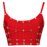 Red Stud Detail Bandage Crop Top