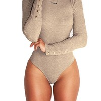 Sexy Women Long Sleeve Shirt Jumpsuit Bodysuit Stretch Knit Leotard Top Blouse T Shirt