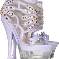 Versace Studded leather and Lucite platform sandals – 60% at THE OUTNET.COM