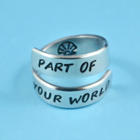 PART 0F YOUR WORLD  - Hand Stamped Spiral Ring, Sea Shell Symbol Ring