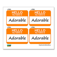 Adorable Hello My Name Is - Sheet of 4 Stickers